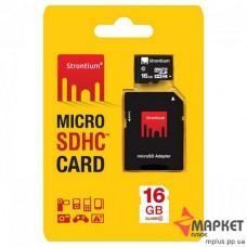Карта пам'яті microSDHC 16 Gb C10 + SD Strontium