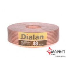 Коаксіальний кабель Dialan RG6U 48W CCS 1.02 мм жовтий екран прозора ізоляція 48% 75 Ом 100 м