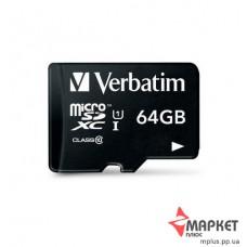 Карта пам'яті Verbatim MicroSDXC 64 Gb C10