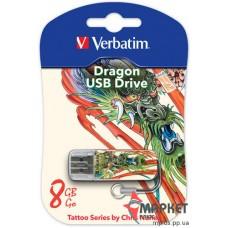 USB Флешка Verbatim StoreNGo 8 Gb Mini Tattoo Dragon